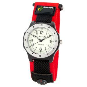 送料無料 カクタス アナログ腕時計 キッズ ボーイズ 男の子 子供 KIDS BOYS ブラック 黒 レッド 赤 マジックテープ CACTUS CAC-65-M07|timelovers