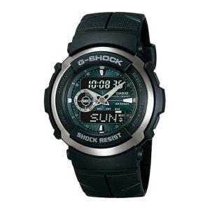 並行輸入品 10年保証 CASIO G-SHOCK カシオ Gショック G-300-3A 腕時計 メンズ キッズ 子供 男の子 アナデジ 防水 ブラック 黒 グリーン 緑|timelovers