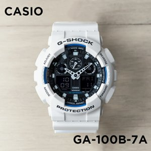 【並行輸入品】【10年保証】CASIO G-SHOCK カシオ Gショック GA-100B-7A 腕時計 メンズ キッズ 子供 男の子 アナデジ 防水 ホワイト 白 ブラック 黒|timelovers