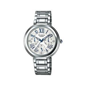 並行輸入品 10年保証 CASIO SHEEN カシオ シーン SHE-3034D-7A 腕時計 レディース アナログ シルバー ホワイト 白 スワロフスキー 海外モデル|timelovers