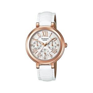 並行輸入品 10年保証 CASIO SHEEN カシオ シーン SHE-3034GL-7A 腕時計 レディース アナログ ピンクゴールド シルバー レザー 革ベルト 海外モデル|timelovers