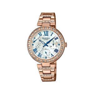 並行輸入品 10年保証 CASIO SHEEN カシオ シーン SHE-3043BPG-7A 腕時計 レディース アナログ ピンクゴールド ホワイト 白 スワロフスキー シェル 海外モデル|timelovers
