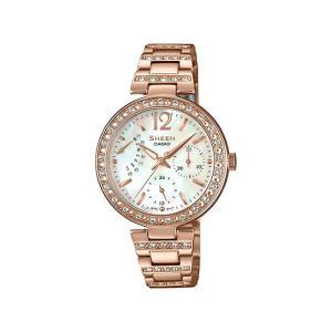 並行輸入品 10年保証 CASIO SHEEN カシオ シーン SHE-3043PG-7A 腕時計 レディース アナログ ピンクゴールド ホワイト 白 スワロフスキー シェル 海外モデル|timelovers