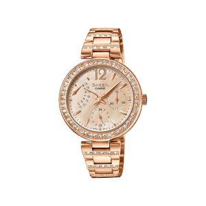 並行輸入品 10年保証 CASIO SHEEN カシオ シーン SHE-3043PG-9A 腕時計 レディース アナログ ピンクゴールド スワロフスキー シェル 海外モデル|timelovers