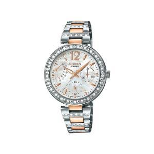 並行輸入品 10年保証 CASIO SHEEN カシオ シーン SHE-3043SG-7A 腕時計 レディース アナログ シルバー ピンクゴールド コンビ スワロフスキー シェル 海外モデル|timelovers