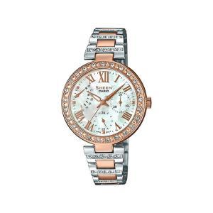 並行輸入品 10年保証 CASIO SHEEN カシオ シーン SHE-3043SPG-7B 腕時計 レディース アナログ ピンクゴールド シルバー コンビ スワロフスキー シェル 海外モデ|timelovers