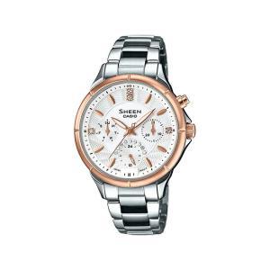 並行輸入品 10年保証 CASIO SHEEN カシオ シーン SHE-3047SG-7A 腕時計 レディース アナログ シルバー ピンクゴールド コンビ スワロフスキー 海外モデル|timelovers