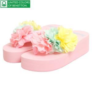 \最終999円SALE/ ベネトン benetton ビーチサンダル 厚底 女の子 ジュニア レディース フラワー コサージュ 浴衣 サンダル セール|timely