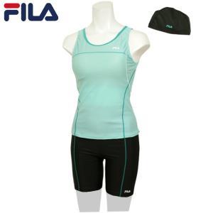 フィットネス 水着 レディース FILA(フィラ) ノースリーブ 女性用 セパレート 水着 スイミングキャップ付き スイムウェア 全3色