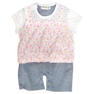 ロンパース 夏服 ベビー 女の子 綿100% 半袖Tシャツ&パンツ カバーオール ギフト 出産祝 贈り物 ミニオール ベビー服 70 80cm 夏物在庫処分セール|timely