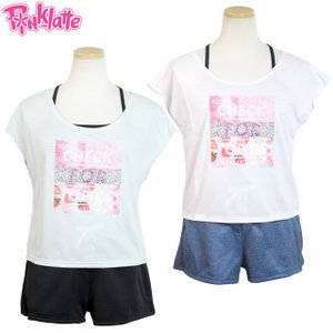水着 女の子 セパレート キッズ ジュニア 子供 ピンクラテ PINK-latte 3点セット Tシャツ×ショートパンツ ティーンズ 中学生|timely