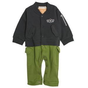 カバーオール MA-1風 ベビー 新生児 男の子 ロンパース 赤ちゃん 乳児用 出産祝などプレゼントに 足付き 新生児肌着 出産祝  セール|timely
