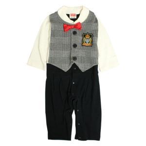 カバーオール 赤ちゃん ベビー 男の子 綿100% ベスト型スタイ付き フォーマル 長袖 ロンパース ギフト 出産祝 贈り物 ミニオール|timely