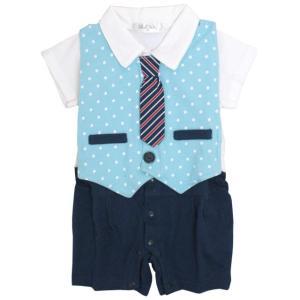 ロンパース 赤ちゃん ベビー 男の子 綿100% ネクタイ付ベスト型スタイ付き フォーマル 半袖 カバーオール ギフト 出産祝 贈り物 ミニオール 夏物在庫処分セール|timely