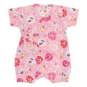 甚平 ロンパース 赤ちゃん ベビー 新生児 女の子 綿100% 日本製生地 水風船柄 新生児ドレス グレコロンパス 寝まき 出産祝 50cm 60cm 夏物在庫処分セール|timely