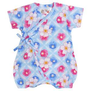 甚平 ロンパース 赤ちゃん ベビー 新生児 女の子 綿100% 日本製生地 万華鏡柄 新生児ドレス グレコロンパス 寝まき 出産祝 50cm 60cm 夏物在庫処分セール|timely