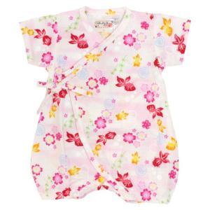 甚平 ロンパース 赤ちゃん ベビー 新生児 女の子 綿100% 日本製生地 桜金魚柄 新生児ドレス グレコロンパス 寝まき 出産祝 50cm 60cm 夏物在庫処分セール|timely