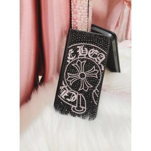【現品限り】iPhone 8Plus/7Plus  ケース  手帳型 デコ クロム スワロフスキー フルデコ キラキラ|tinkerbell-azabu