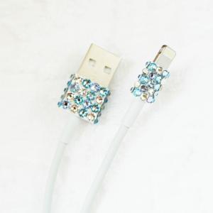 Lightning USBケーブル ブルーアソート スワロフスキー デコレーション キラキラ プレゼ...