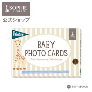 ベビーフォトカード キリンのソフィー マイルストーン 24枚 成長記録 カードセット 箱入り 生後から1歳まで ギフト 出産祝い|tinyspoon