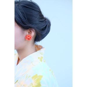 fuji S イヤリング / ピアス オレンジ(片耳)AYUKO HISHIKAWA Paper Accessory(SIWA)|tiogruppen