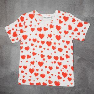 mini rodini ミニロディーニ Tシャツ HEARTS AOP SS TEE ホワイト ハート柄 子供服|tiogruppen