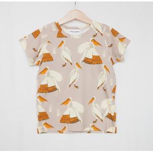 mini rodini ミニロディーニ Tシャツ PELICAN AOP SS TEE グレー ペリカン柄 メール便対応|tiogruppen