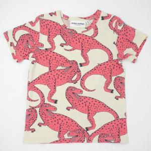 mini rodini ミニロディーニ Tシャツ メール便対応 T-REX AOP SS TEE ピンク 恐竜柄 ティーレックス|tiogruppen