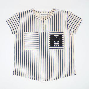 mini rodini ミニロディーニ Tシャツ メール便対応 STRIPE BASEBALL TEE ブルー  ストライプ 野球ユニホーム風デザイン|tiogruppen