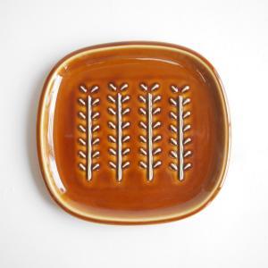 美濃焼 miyama 深山 パン皿 crust クラスト/小枝柄 飴釉 日本製