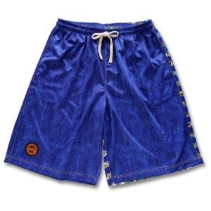 Arch flower striped denim shorts【B15-014】Blue tipoff