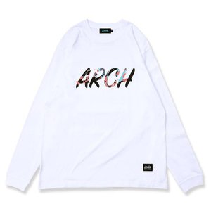 Arch marbling lettered  L/S tee 【T320119】white|tipoff