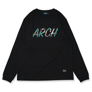Arch marbling lettered  L/S tee 【T320120】black|tipoff