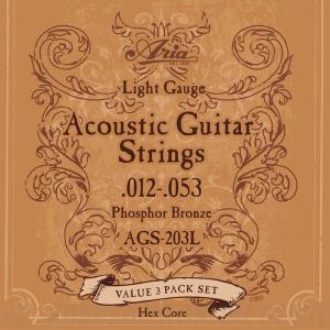 Aria AGS203L Light, 3sets Acoustic Guitar 【3セット】《アコースティックギター弦》【ネコポス】