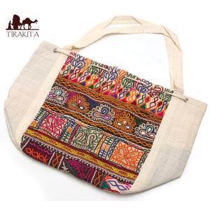 送料無料 カッチ刺繍のトートバッグ ポーチ アジア インド ネパール エスニック|tirakita-shop