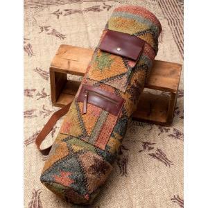 送料無料 キリム ダリー ジュート バッグ ヨガマットバッグ 〔一点もの〕伝統を紡いだ インドキリムのヨガマットバッグ Kilim Dhurrie Bag Yoga ポーチ|tirakita-shop