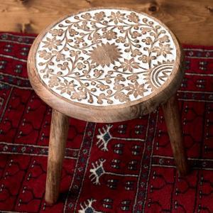 アジアン家具 椅子 スツール マンゴーウッドのマンダラ・スツール ナチュラル ハンドメイド 子供用椅子 木製 おしゃれ インテリア雑貨 デザイン家具