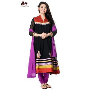 送料無料 ドレス インド パンジャビドレス パンジャービードレス パンジャビ・ドレス3点セット ブラック サルワール・カミーズ 民族衣装 レディース|tirakita-shop