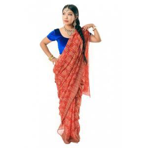 サリー 民族衣装 デコレーション布 インド (8色展開)インド伝統模様バンディニプリントのインドサリ...