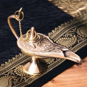 アラジンランプ オイルランプ 千夜一夜物語 アラビアンナイト アラジンの魔法のランプ (9.5cm×7.5cm) アジアン インド アンティック