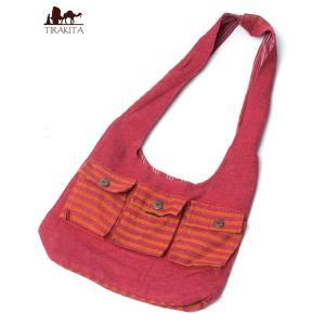 バッグ カバン ショルダーバッグ 鞄 ワイドショルダーバック 赤 インド かばん ポーチ エスニック アジア|tirakita-shop