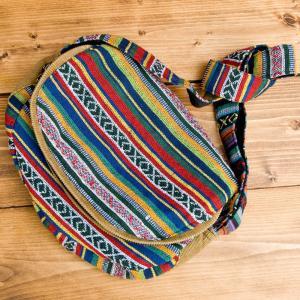 エスニック バッグ リュックサック (収納たっぷり)エスノ刺繍のショルダーバッグ カラフル系 インド かばん ポーチ アジア|tirakita-shop