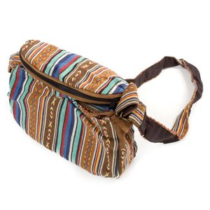 エスニック バッグ リュックサック (収納たっぷり)エスノ刺繍のショルダーバッグ 茶系 インド かばん ポーチ アジア|tirakita-shop