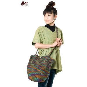 ヘンプ バッグ ショルダーバッグ タイダイ ジュート編みタイダイバッグ インド かばん ポーチ エスニック アジア|tirakita-shop