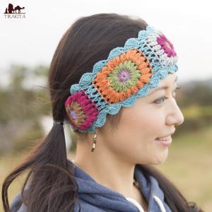 ドレッド ニット帽 お花刺繍のニットヘアバンド 帽子 フェイクドレッド ヘンプ ネパール ハット ヘンプハット エスニック衣料 アジアンファッション|tirakita-shop