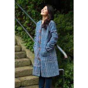 ジャケット コート レディース ウッドブロック 藍染 インディゴ染布のキルティングコート 春 秋 メンズ ユニセックス アジアンファッション|tirakita-shop