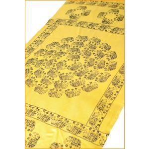 大サイズ 100cmx210cm インドのゾウたくさんルンギー 黄色 / アジア 布 ファブリック エスニック 神様 ラムナミ 象