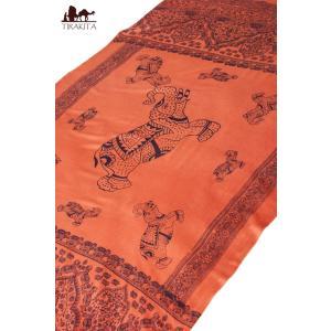 ラムナミ 象 布 100cmx200cm インドの大きなゾウさんルンギー オレンジ アジアン プリント ファブリック|tirakita-shop