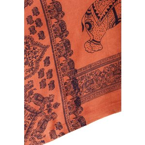 ラムナミ 象 布 100cmx200cm インドの大きなゾウさんルンギー オレンジ アジアン プリント ファブリック|tirakita-shop|04