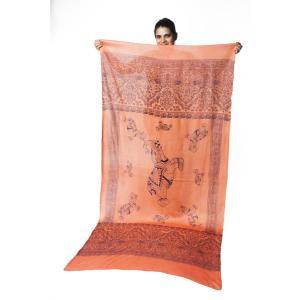 ラムナミ 象 布 100cmx200cm インドの大きなゾウさんルンギー オレンジ アジアン プリント ファブリック|tirakita-shop|07